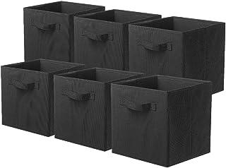 PowerKing Lot de 6 Boîtes Tiroirs en Tissu Cube de Rangement Pliable Coffre pour Linge Jouets Vêtement
