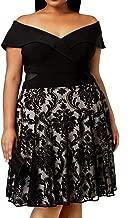Xscape Womens Plus A-Line Lace Scuba Dress