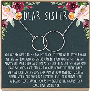 Dear Ava Sisters Necklace: Sister Gift, Gift for Sister, Sister Birthday Gift, 2 Interlocking Circles