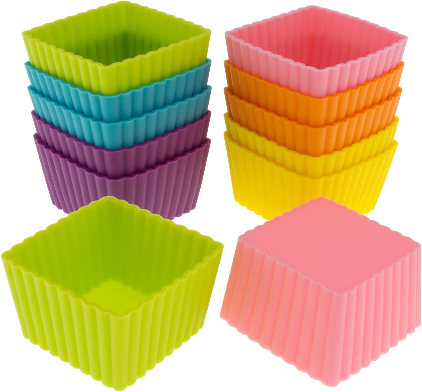 Freshware Silicone Baking Cups 12 Pack Reusable Cupcake Liners Non Stick Muffin Cups Cake Molds Cupcake Holder In 6 Rainbow Colors Mini Square Kitchen Dining