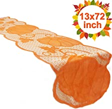 TURNMEON Fall Table Runner - 13 x 72 Inch Pumpkin Lace Table Cloth Runner for Family Dinners Maple Leaf Table Decor Fireplace Mantle Scarf Cover Party Supplies Halloween Thanksgiving Decoration