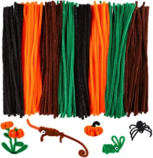 Caydo 320 Pieces Halloween Pipe Cleaners Chenille Stems 6mm x 12inch, Chenille Stems for DIY Art Craft Decorations (Black, Brown, Dark Green, Orange)