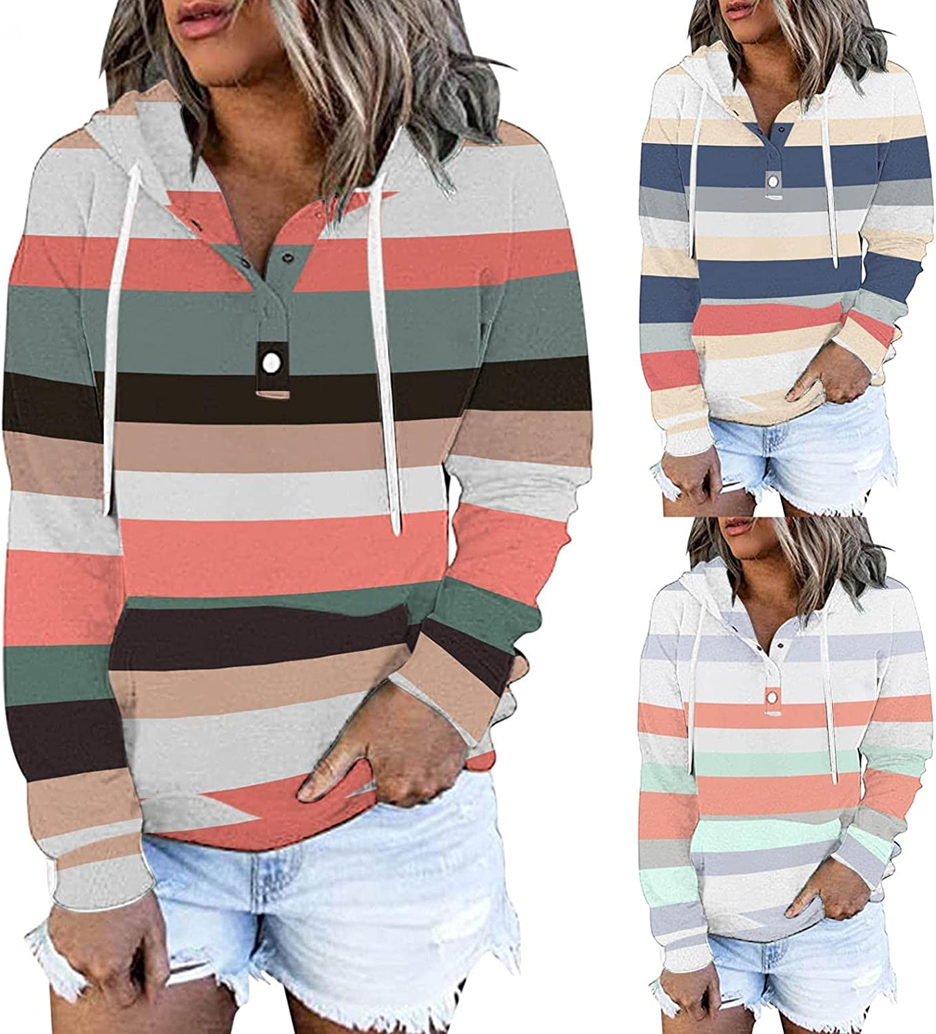 felwors Pullover Hoodies for Women, Womens Basic Hoodies Button Down Long Sleeve Casual Sweatshirt Loose Plus Size Coat