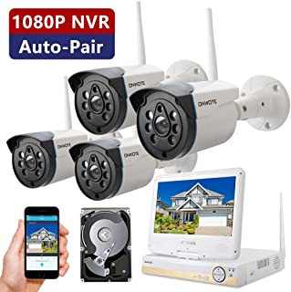 ONWOTE All-in-one 1080P HD NVR Wireless Home Security Camera System Outdoor with 10.1