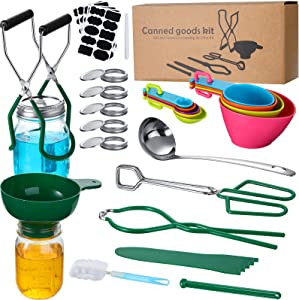 78 Pieces Canning Supplies Starter Kit Canning Essentials Set for Beginner, Stainless Steel Canning Accessories Equipment for Home Kitchen Canning Jar Supplies Food Fruit Pickle (Green)