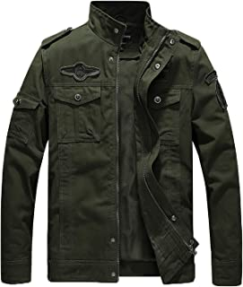 Men's Casual Cotton Military Jacket Fall Lightweight Outwear Coat