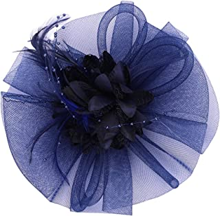 Women Girls Fascinators with Headbands Lady's Elegant Tea Party Bridal Derby Hat Flower Hats Feather Mesh Net Lace Veil Fascinators
