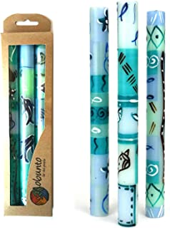 Global Crafts Set of Three Boxed Tall Hand-Painted Candles - Samaki Africa Design - Nobunto Candles