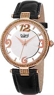 ساعة بورغي للنساء بمينا فضية اللون وسوار جلدي - BUR150BKR