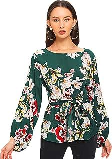 Women's Floral Print Long Sleeve Self tie Waist Knot Blouse Top