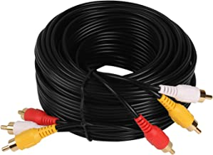 Audio Video Cable,Composite Cord 30 ft RCA to RCA M/Mx3,AV Cable for TV,DVD,VCD etd.