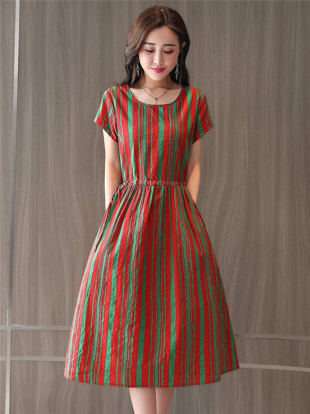 Fanru 梵如 女式 夏装新款韩版修身棉麻连衣裙女短袖中长款淑女气质学院风裙子 F518-658