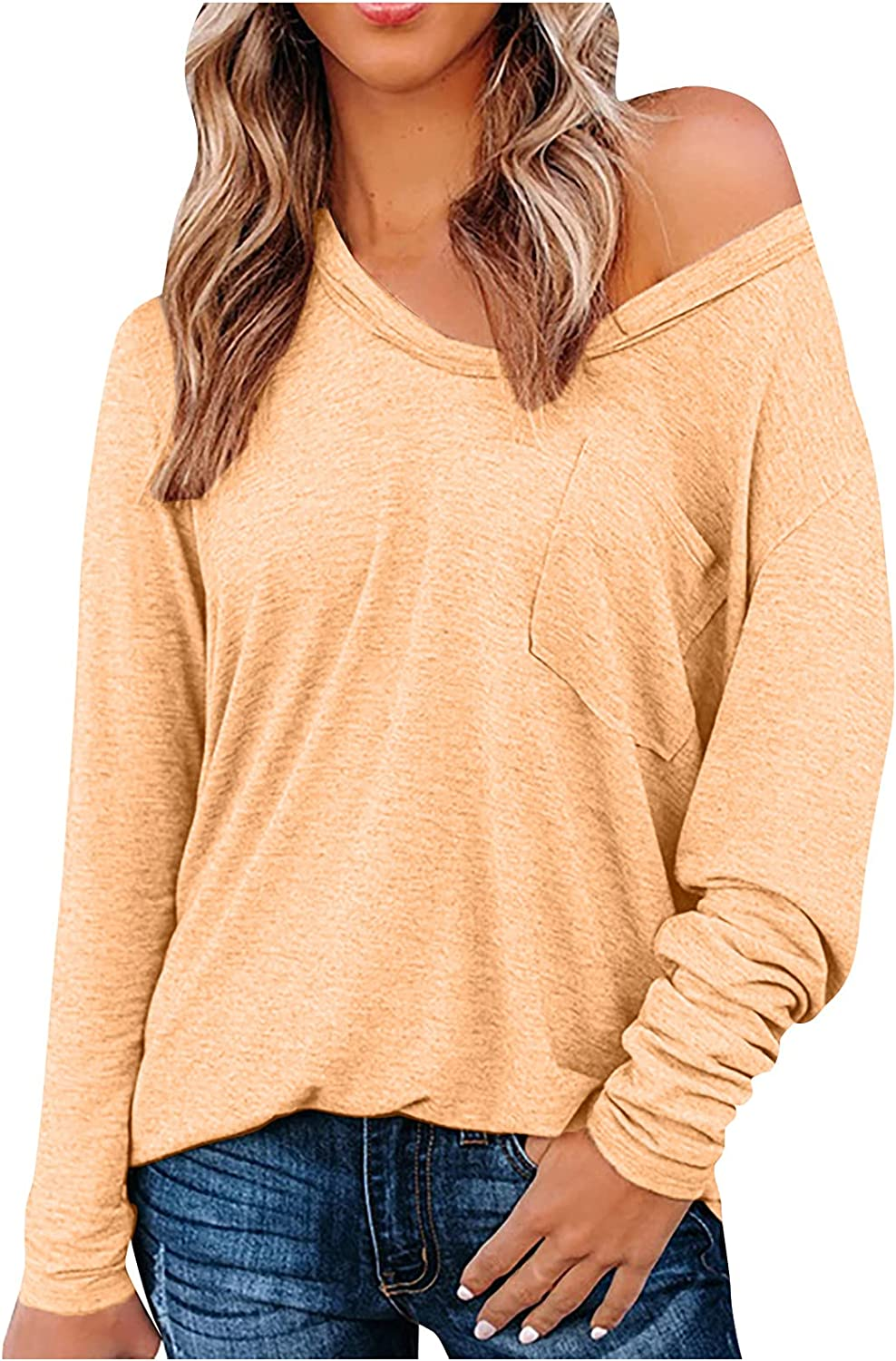 BOXIACEY Women's Casual T-Shirts V-Neck Solid Hedging Sexy Hoodies Loose Long Sleeve Pocket Sweatshirt Tunic Tops