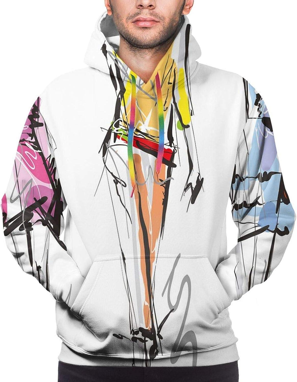 Men's Hoodies Sweatshirts,Fashion Models Walking On Runway Girly Colorful Abstract Sketch Artwork Design