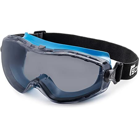 Solid. Safety Goggles that fit Perfectly | Protective Eyewear with Anti-Fog, Anti-Scratch and UV-Protective Lens | Ideal Safety Glasses for wearing Over Prescription Glasses | Grey-Tinted Lens | Blue
