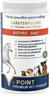 V-POINT ARTHRO Akut - bei Gelenkschmerzen, Arthrose, akut schmerzhaften Beschwerden - Premium Kräuterpulver für Hunde und Pferde - Mit Teufelskralle, Ingwer, Hagebutte, Weidenrinde (500 g)