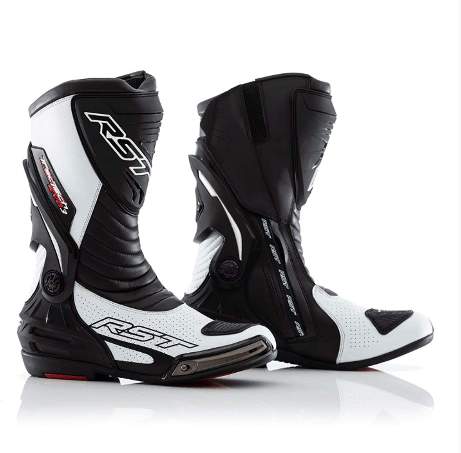TRACK TECH RST Tractech Evo 3 III Motorcycle Boots Black and White CE BMX Dirt Trail Bike MTB ATV Enduro Rider Safety Shoes UK 8//EU 42