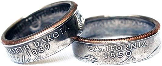 State Quarter Coin Ring, Quarter Ring, Coin Ring, Coin Jewelry, Mens Ring, Unique Wedding Band, Husband Gift, Rustic Ring, Vintage Ring