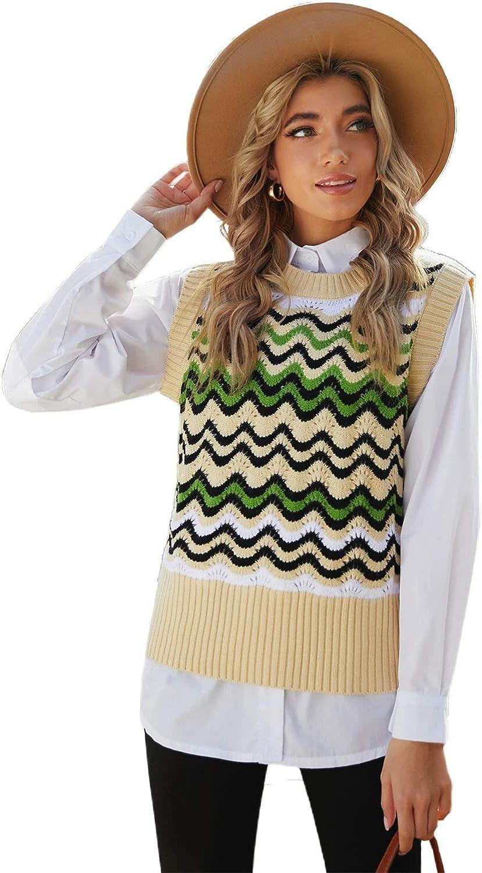 HODAMODA Women Green Wavy Stripes Knit Vest Pullover Sweater