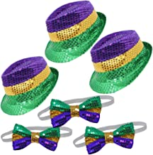 Joyin Toy 3 Pack Mardi Gras Accessory Set Party Favors with 3 Sequin Fedora Hats and 3 Sequin Bow Ties