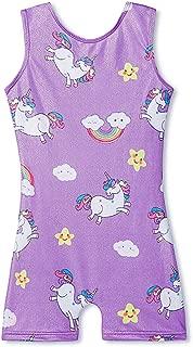 Leotards for Girls Gymnastics Apparel Kids Children Biketard with Shorts Dance Unitards Sparkly Unicorn Outfits