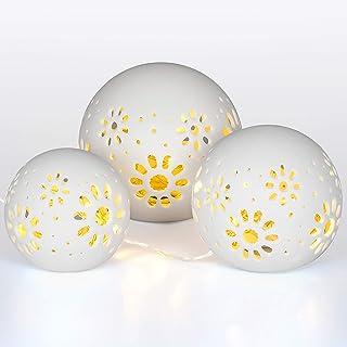 Gadgy ® Conjunto de 3x Luz Ambiental Cerámica l 24 LED String incluido l Hecho a mano l Bolas de Cerámica con Perforación l Efecto Sombra l Ø 8/10/12 cm