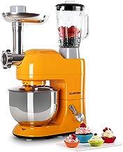 Klarstein Lucia Orangina - Robot de Cocina Universal , Batidora , Amasadora , 1200 W , 5 L , Batido planetario , Picadora , Cabezal para Pasta , Recipiente de Acero Inoxidable , Naranja