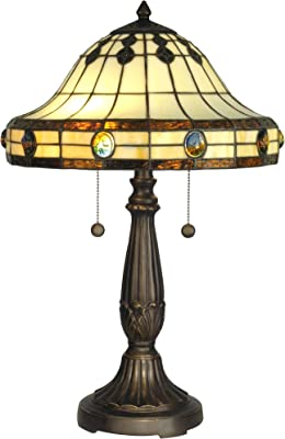 Dale Tiffany Tt60574 Donavan Table Lamp Mica Bronze And Art Glass