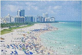 HDフロリダ州マイアミ-サウスビーチトロピカル&パラダイスコースト9005039(大人用のプレミアム1000ピースジグソーパズル19x27)