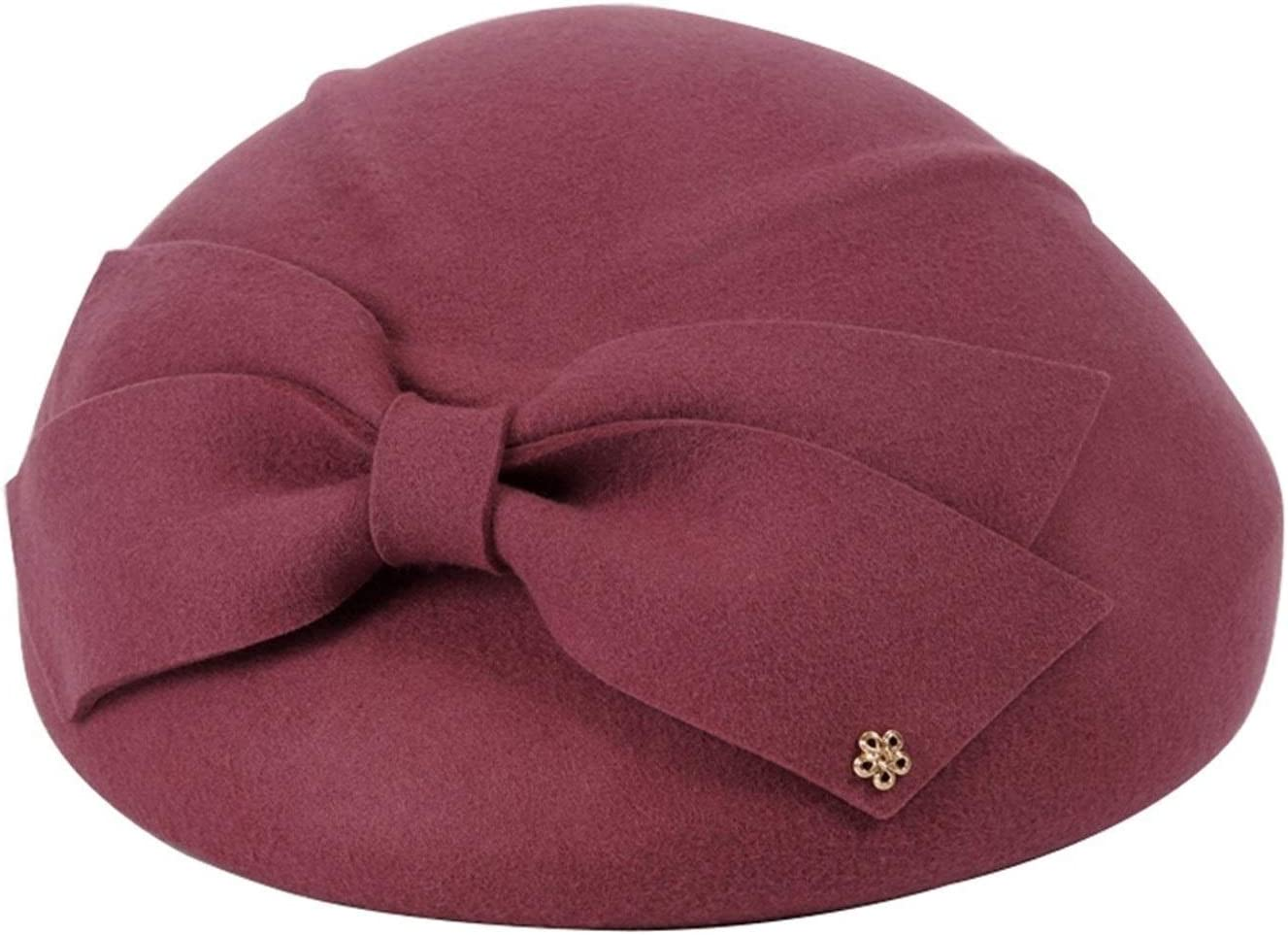 YAOJIA Winter hat Woman Wool Beret   Solid Color Bow Small Hat Hats to Keep Warm Spring and Winter Travel Beanie Cap (Color : Pink)
