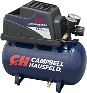 Portable Air Compressor, 2-Gallon Hot Dog Tank, Oilless with Air Hose and Inflation Kit (Campbell Hausfeld FP209000AV)