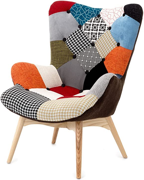 Poltrona fashion commerce patchwork , lino, multicolore, 70 x 78 x 96 cm FC769