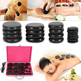 20Pcs Basalt Hot Stones Set Hot Rocks Massage Stones Kit with Heater Box for Body Massage