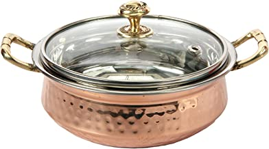 Indian Hammered Copper Serving Bowl for Food Soup with Handle and Glass Lid Decorative Small Seveware - Aheli