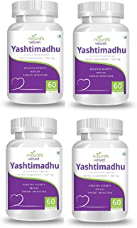 Natures Velvet Lifecare 500 mg Licorice Extract Yastimadhu Tablet - 60 Capsules Pack of 4