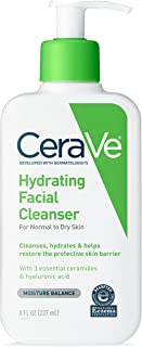 CeraVe Hydrating Facial Cleanser 8 oz for Daily Face Washing, Dry to Normal Skin