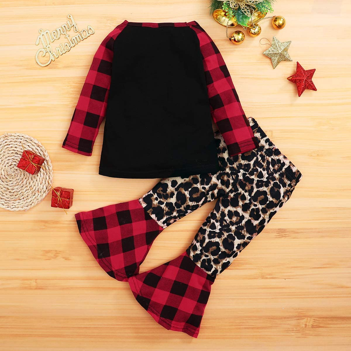 2Pcs Toddler Girl Halloween Christmas Outfits Baby Girl Clothes Long Sleeve Plaid Top Shirt Bell Bottom Jeans Pants Outfits