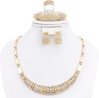 NYKKOLA 18K Gold Plated Crystal Necklace Bracelet Earrings Present Jewelry Set for Wedding Prom Party