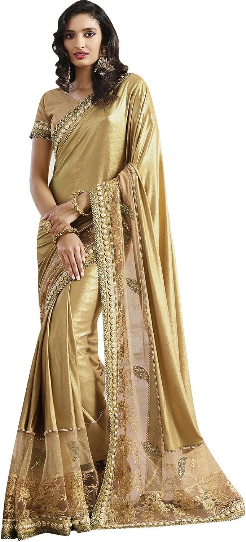 Indian Ethnicwear Shimmer and Net Dark Beige Coloured Fancy Saree