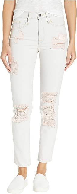 Pink Pigment Distressed Girlfriend Jeans