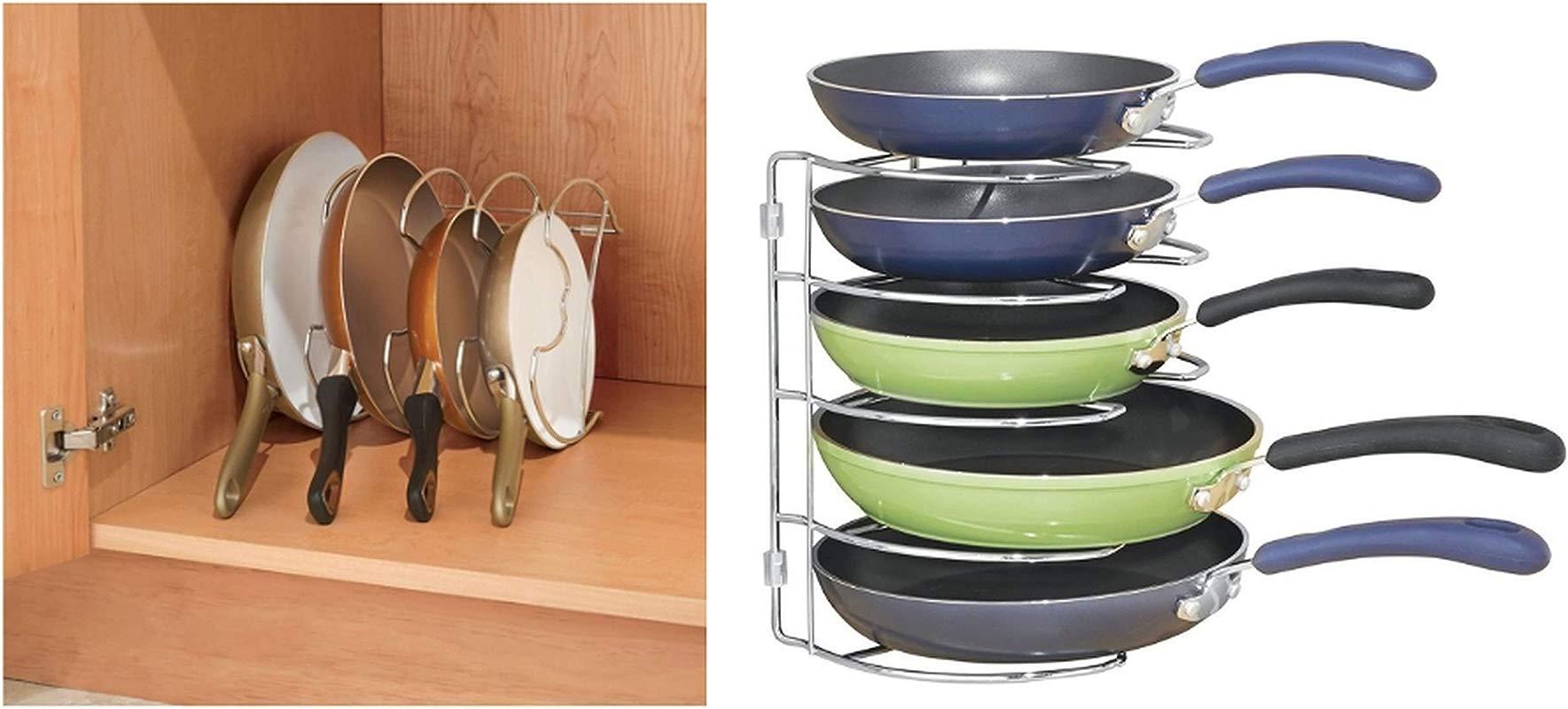 InterDesign Classico Kitchen Cabinet Storage Organizer For Skillets Pans Vertical Chrome