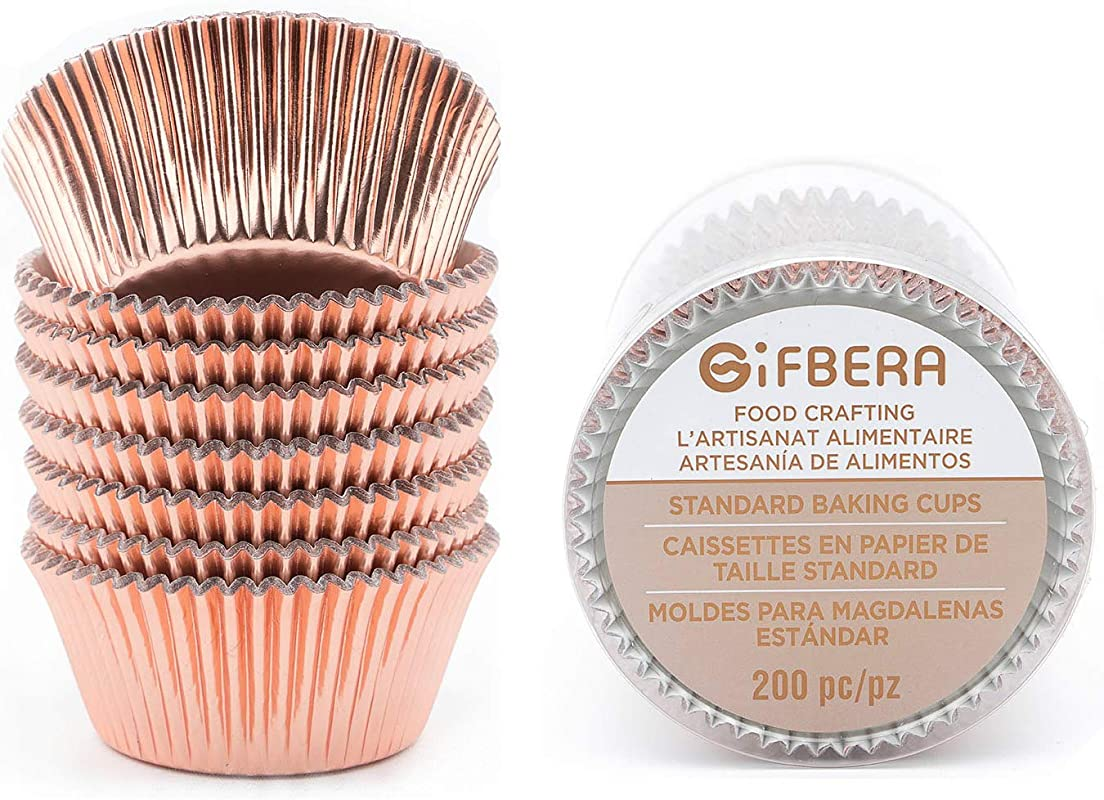 Gifbera Standard Rose Gold Foil Cupcake Liners Baking Cups 200 Count