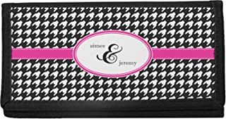 Houndstooth w/Pink Accent Canvas Checkbook Cover (Personalized)