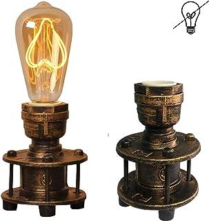 Lampara Mesilla de Noche Tuberia Vintage Retro Industrial de Mesa Salon Decorativa con Enchufe Laton dorada e27 edison