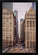 CANVAS ON DEMAND Street Scene in Chicago, Illinois Black Framed Art Print, 23