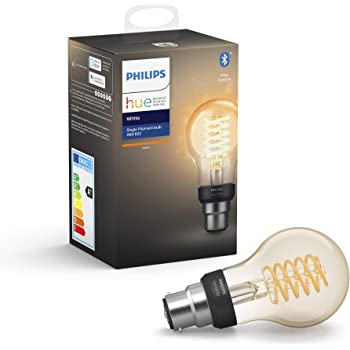 Philips Hue White Filament Single Smart LED Bulb [B22 Bayonet Cap] with Bluetooth. Works with Alexa and Google Assistant, A Certified for Humans Device.