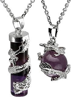 JOVIVI - Set regalo comprensivo di collane, con ciondoli in cristallo prezioso di forma sferica e cilindrica, con decorazi...