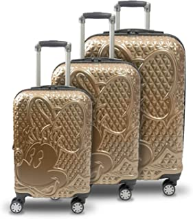 Concept One Disney Ful Textured Minnie Mouse 21in Hard Sided Rolling Luggage Gold