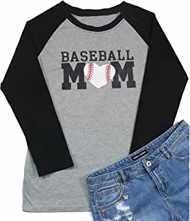 Women Baseball Mom Letter Print Graphic T Shirt 3/4 Raglan Sleeve Casual Blouse Tops