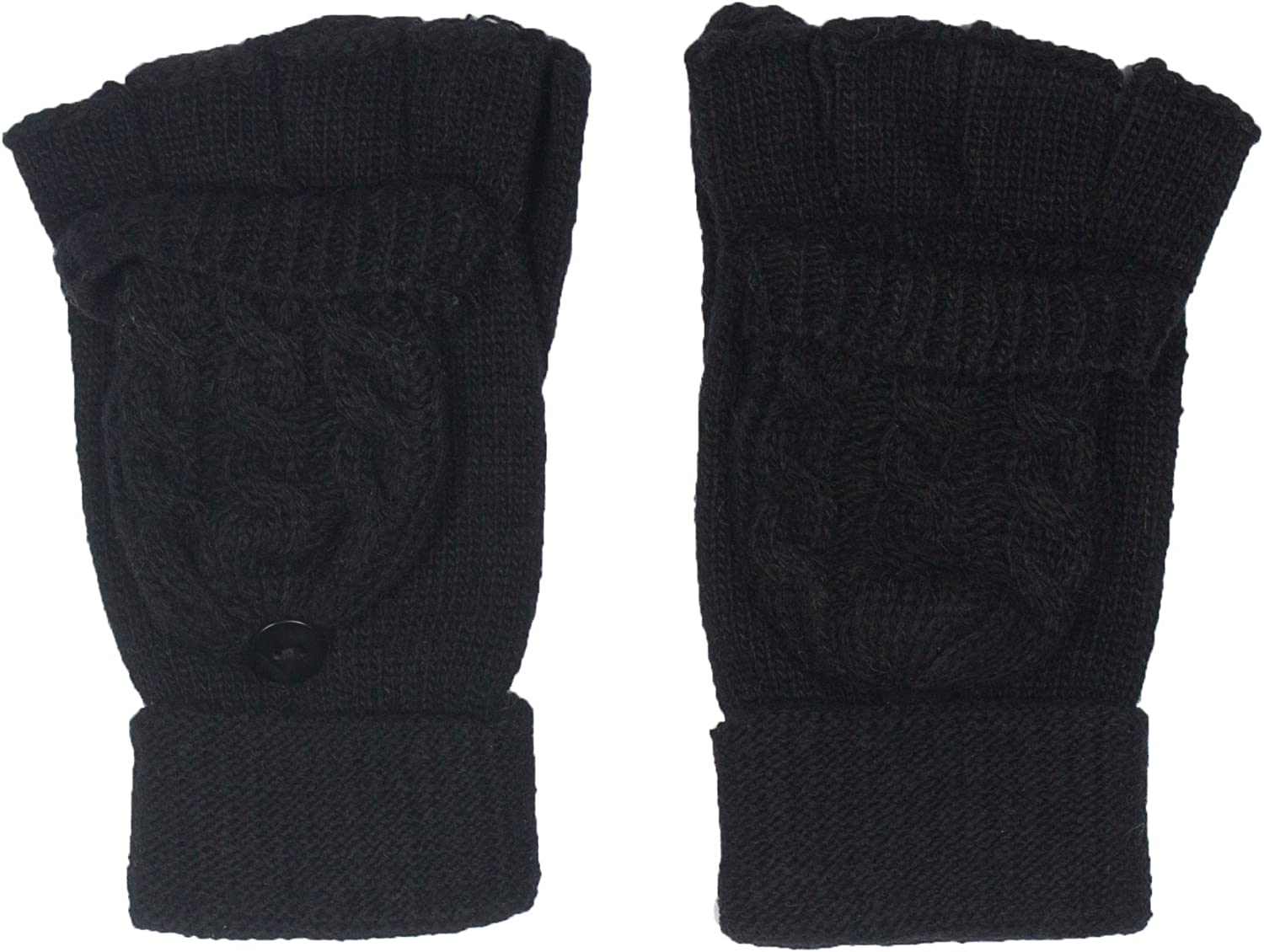 DRY77 Fingerless Mitten Flap Knit Cable Gloves Women Winter Cold Warm Fashion
